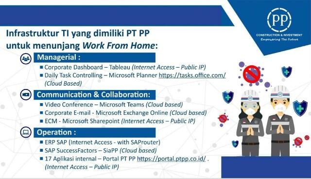 Dukung Program Pemerintah, PTPP Berlakukan Partial Work From Home