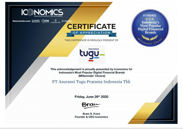 "TUGU Raih Penghargaan di Ajang ""Indonesia's Most Popular Digital Financial Brands"""